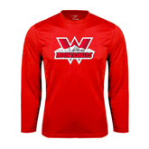 Performance Red Longsleeve Shirt-Interlocking W Mountaineers - Official Logo