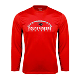 Syntrel Performance Red Longsleeve Shirt-Arched Football Design