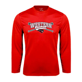 Performance Red Longsleeve Shirt-Baseball Crossed Bats Design