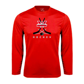 Performance Red Longsleeve Shirt-Hockey Crossed Sticks Design
