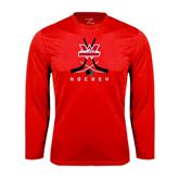 Syntrel Performance Red Longsleeve Shirt-Hockey Crossed Sticks Design