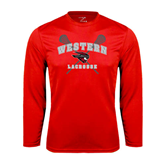 Performance Red Longsleeve Shirt-Lacrosse Crossed Sticks