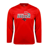 Performance Red Longsleeve Shirt-Soccer Swoosh Design