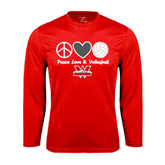 Performance Red Longsleeve Shirt-Peace, Love and Volleyball Design