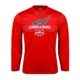 Syntrel Performance Red Longsleeve Shirt-Track and Field Side Shoe Design