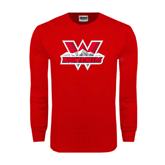Red Long Sleeve T Shirt-Interlocking W Mountaineers - Official Logo
