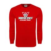 Red Long Sleeve T Shirt-Cycling Team