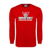 Red Long Sleeve T Shirt-Mountain Biking