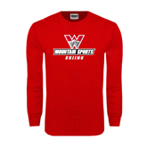 Red Long Sleeve T Shirt-Skiing