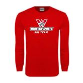 Red Long Sleeve T Shirt-Ski Team