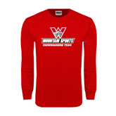 Red Long Sleeve T Shirt-Snowboarding