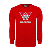 Red Long Sleeve T Shirt-W Western