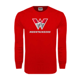 Red Long Sleeve T Shirt-W Mountaineers