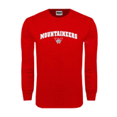 Red Long Sleeve T Shirt-Arched Mountaineers w/ W