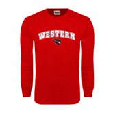 Red Long Sleeve T Shirt-Arched Western w/ Mad Jack