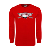 Red Long Sleeve T Shirt-Baseball Crossed Bats Design
