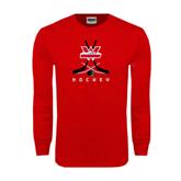 Red Long Sleeve T Shirt-Hockey Crossed Sticks Design