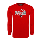 Red Long Sleeve T Shirt-Soccer Swoosh Design