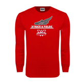 Red Long Sleeve T Shirt-Track and Field Side Shoe Design