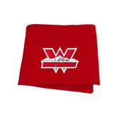 Red Sweatshirt Blanket-Interlocking W Mountaineers - Official Logo
