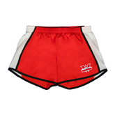 Ladies Red/White Team Short-Interlocking W Mountaineers - Official Logo