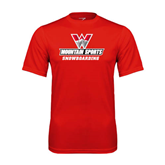 Performance Red Tee-Snowboarding