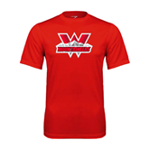 Syntrel Performance Red Tee-Interlocking W Mountaineers - Official Logo