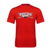 Performance Red Tee-Baseball Crossed Bats Design