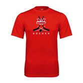 Performance Red Tee-Hockey Crossed Sticks Design