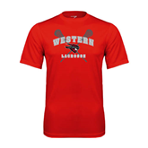 Performance Red Tee-Lacrosse Crossed Sticks