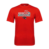 Performance Red Tee-Soccer Swoosh Design
