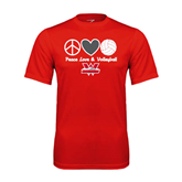 Performance Red Tee-Peace, Love and Volleyball Design