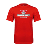 Performance Red Tee-Climbing