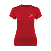 Ladies Syntrel Performance Red Tee-Interlocking W Mountaineers - Official Logo
