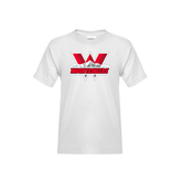 Youth White T Shirt-Interlocking W Mountaineers - Official Logo