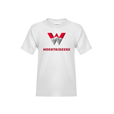 Youth White T Shirt-W Mountaineers