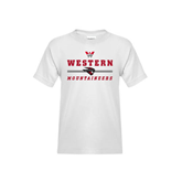 Youth White T Shirt-Western Mountaineers Stacked w W and Mad Jack