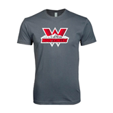 Next Level SoftStyle Charcoal T Shirt-Interlocking W Mountaineers - Official Logo