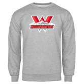 Grey Fleece Crew-Interlocking W Mountaineers - Official Logo