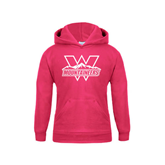 Youth Raspberry Fleece Hoodie-Interlocking W Mountaineers - Official Logo