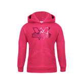 Youth Raspberry Fleece Hoodie-Interlocking W Mountaineers - Official Logo Foil