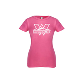 Youth Girls Fuchsia Fashion Fit T Shirt-Interlocking W Mountaineers - Official Logo