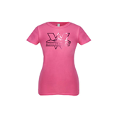 Youth Girls Fuchsia Fashion Fit T Shirt-Interlocking W Mountaineers - Official Logo Foil
