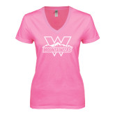 Next Level Ladies Junior Fit Deep V Pink Tee-Interlocking W Mountaineers - Official Logo