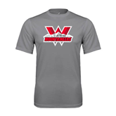 Performance Grey Concrete Tee-Interlocking W Mountaineers - Official Logo