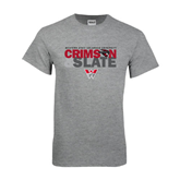 Grey T Shirt-Crimson and Slate