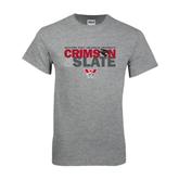 Grey T Shirt-Crimson and Slate