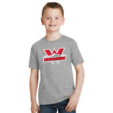 Youth Grey T-Shirt-Interlocking W Mountaineers - Official Logo