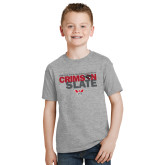 Youth Grey T-Shirt-Crimson and Slate