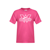 Youth Fuchsia T Shirt-Interlocking W Mountaineers - Official Logo